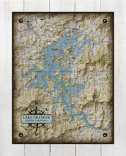 Load image into Gallery viewer, Lake Chatuge North Carolina Map Design   - On 100% Natural Linen