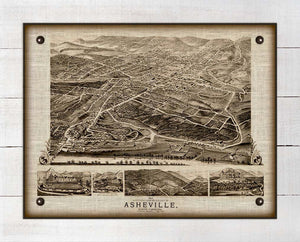1891 Asheville North Carolina Birdseye Map - On 100% Natural Linen