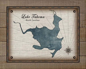 Lake Tahoma North Carolina Map Design - On 100% Natural Linen