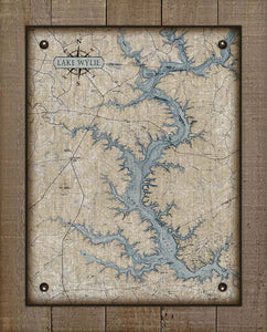 Lake Wylie North Carolina Map Design  - On 100% Natural Linen