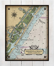 Load image into Gallery viewer, Wrightsville Beach North Carolina Nautical Chart - On 100% Natural Linen