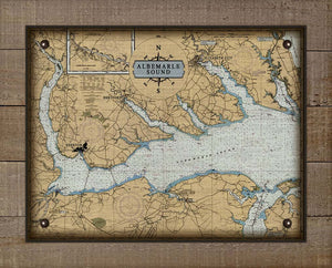 Copy of Albemarle Sound North Carolina Nautical Chart - On 100% Natural Linen