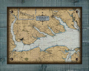 Albemarle Sound North Carolina Nautical Chart - On 100% Natural Linen
