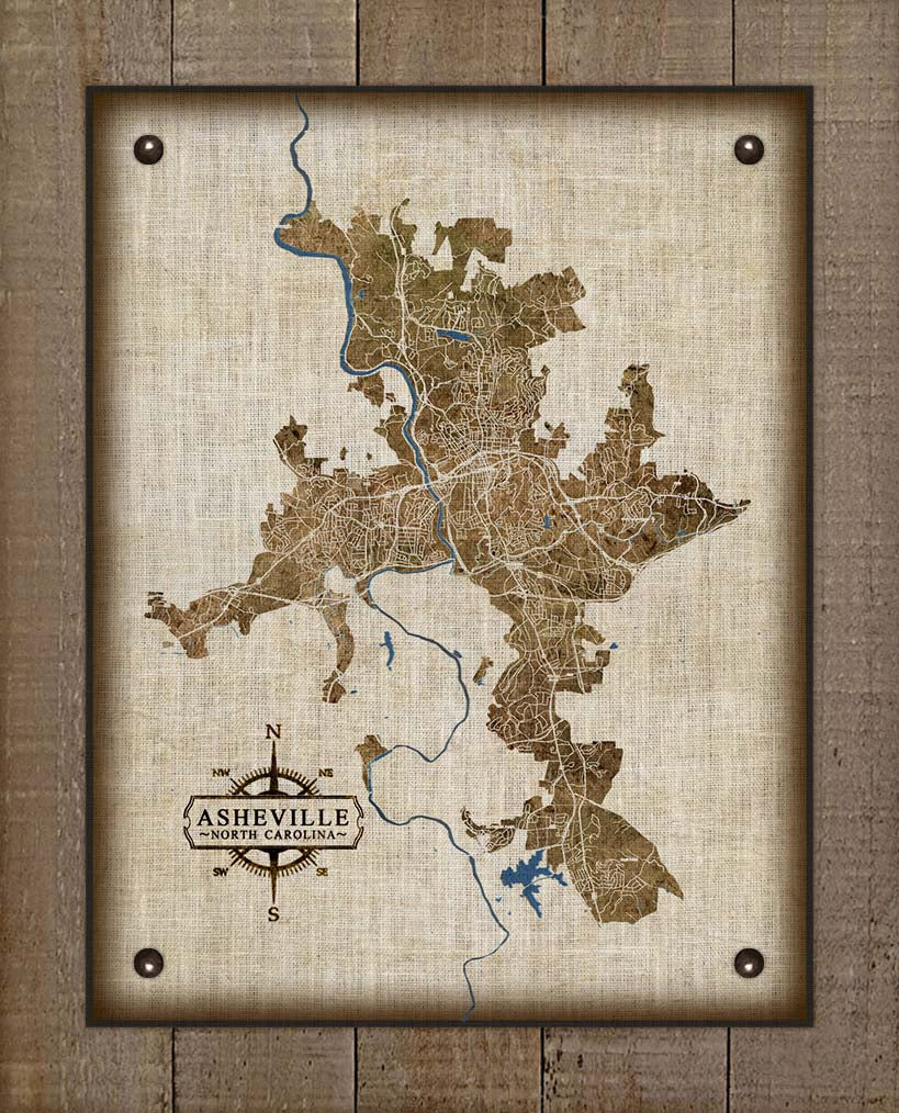Asheville North Carolina Map Design - On 100% Natural Linen