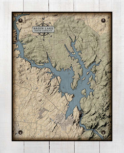 Badin Lake North Carolina Map Design - On 100% Natural Linen