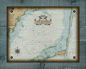 Outer Banks North Carolina (Corolla to Hatteras) Nautical Chart - On 100% Natural Linen