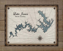 Load image into Gallery viewer, James Lake North Carolina Map Design - On 100% Natural Linen