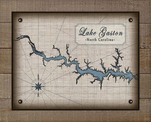 Lake Gaston North Carolina Map Design (2) - On 100% Natural Linen