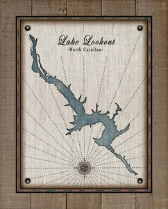 Lookout Lake North Carolina Map - On 100% Natural Linen