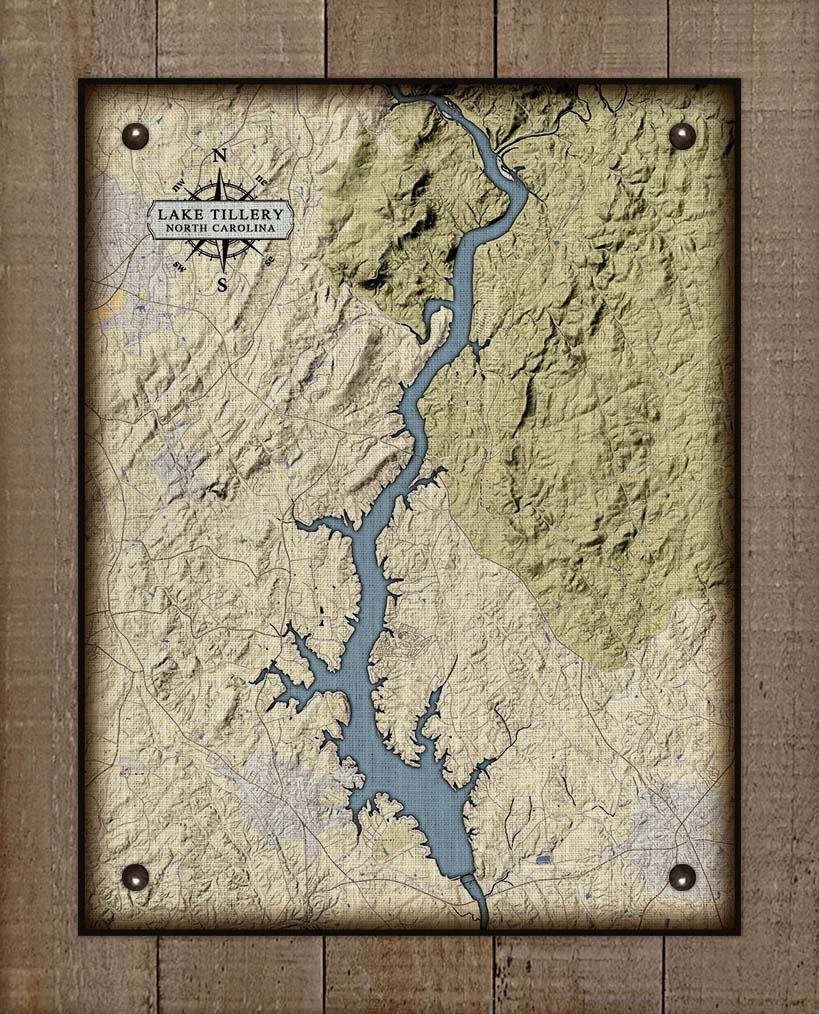 Lake Tillery North Carolina Map Design - On 100% Natural Linen