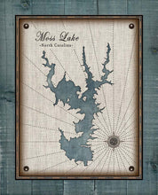 Load image into Gallery viewer, Moss Lake North Carolina Map Design (2)  - On 100% Natural Linen