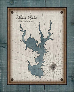 Moss Lake North Carolina Map Design (2)  - On 100% Natural Linen