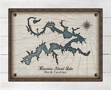 Load image into Gallery viewer, Mountain Island Lake North Carolina Map Design   - On 100% Natural Linen