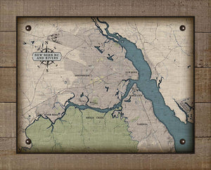 New Bern North Carolina And Rivers Map Design - On 100% Natural Linen