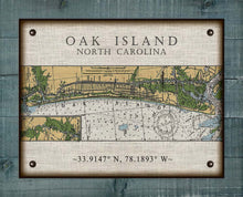 Load image into Gallery viewer, Oak Island North Carolina Nautical Chart - On 100% Natural Linen