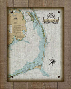 Outer Banks North Carolina (Nags Head to Ocracoke) Nautical Chart - On 100% Natural Linen