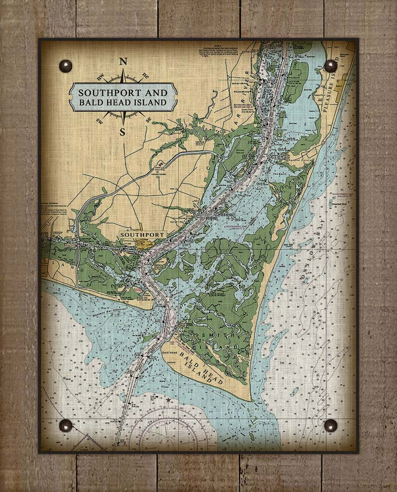 Southport & Bald Head Island North Carolina Nautical Chart - On 100% Natural Linen