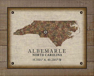 Albemarle North Carolina Vintage Design - On 100% Natural Linen