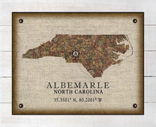 Load image into Gallery viewer, Albemarle North Carolina Vintage Design - On 100% Natural Linen