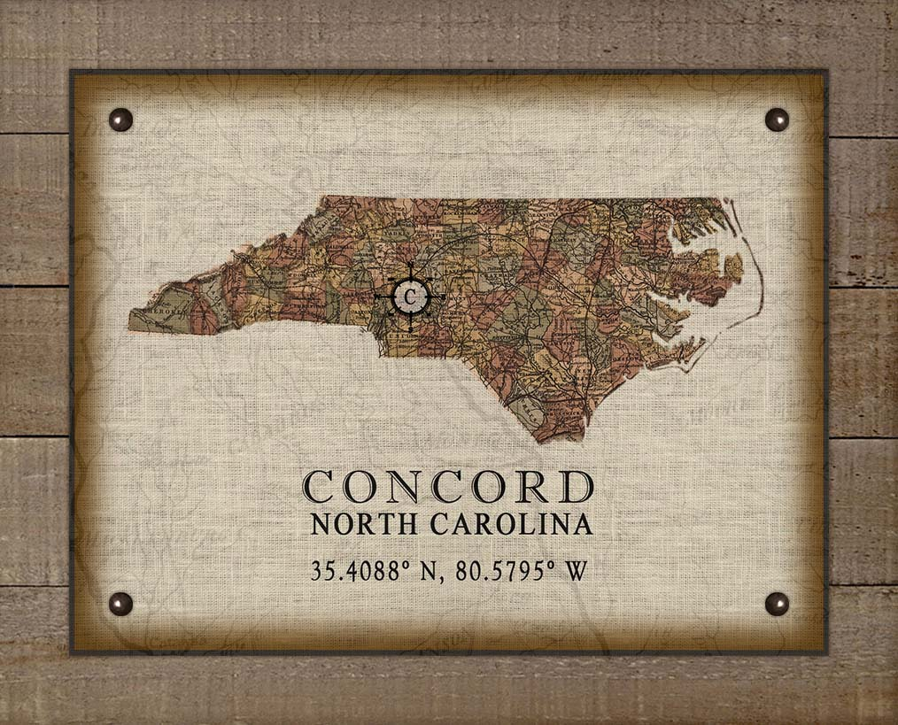 Concord North Carolina Vintage Design - On 100% Natural Linen
