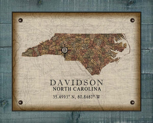 Davidson North Carolina Vintage Design - On 100% Natural Linen