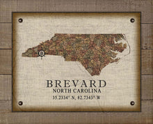 Load image into Gallery viewer, Brevard North Carolina Vintage Design - On 100% Natural Linen