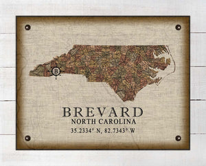 Brevard North Carolina Vintage Design - On 100% Natural Linen