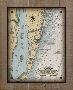 Wilmington Beach North Carolina Nautical Chart - On 100% Natural Linen