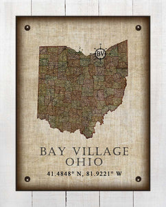 Bay Village Ohio Vintage Design - On 100% Natural Linen