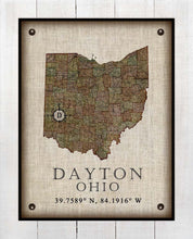 Load image into Gallery viewer, Dayton Ohio Vintage Design - On 100% Natural Linen