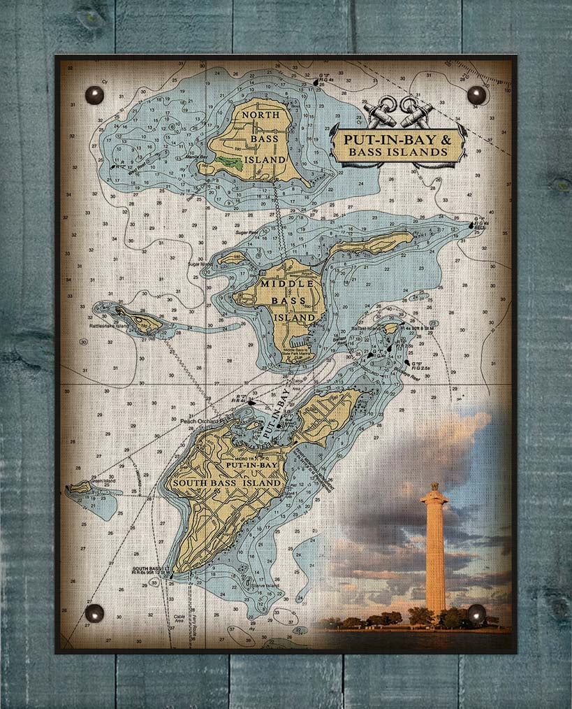 Put-In-Bay & Bass Islands Ohio Nautical Chart (2) - On 100% Natural Linen