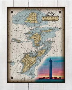 Put-In-Bay & Bass Islands Ohio Nautical Chart (3) - On 100% Natural Linen
