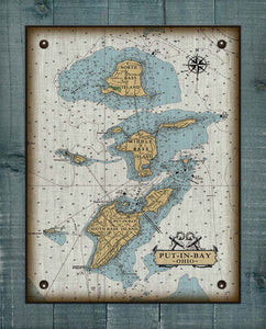 Copy of Put-In-Bay & Bass Islands Ohio Nautical Chart (3) - On 100% Natural Linen