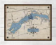 Load image into Gallery viewer, Buckeye Lake Ohio Map Design - On 100% Natural Linen