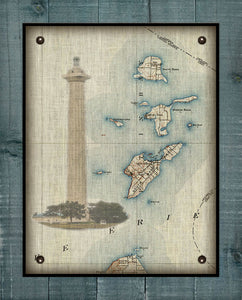 Put-In-Bay & Bass Islands - Ohio _ Vintage Chart With South Bass Island Light House, Nautical Chart  (3) - On 100% Natural Linen