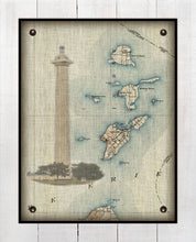 Load image into Gallery viewer, Put-In-Bay & Bass Islands - Ohio _ Vintage Chart With South Bass Island Light House, Nautical Chart  (3) - On 100% Natural Linen