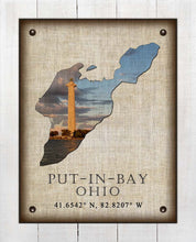 Load image into Gallery viewer, Put-In-Bay Ohio Vintage Design - On 100% Natural Linen