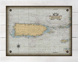 Puerto Rico Nautical Chart - On 100% Natural Linen