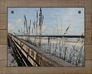 Sea Oats And Railing - On 100% Natural Linen