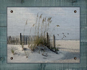 Sea Oats And Fence - On 100% Natural Linen