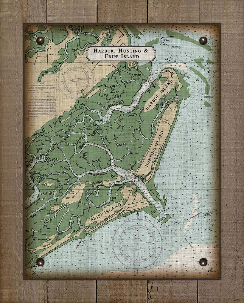Harbor Island Nautical Chart - On 100% Natural Linen