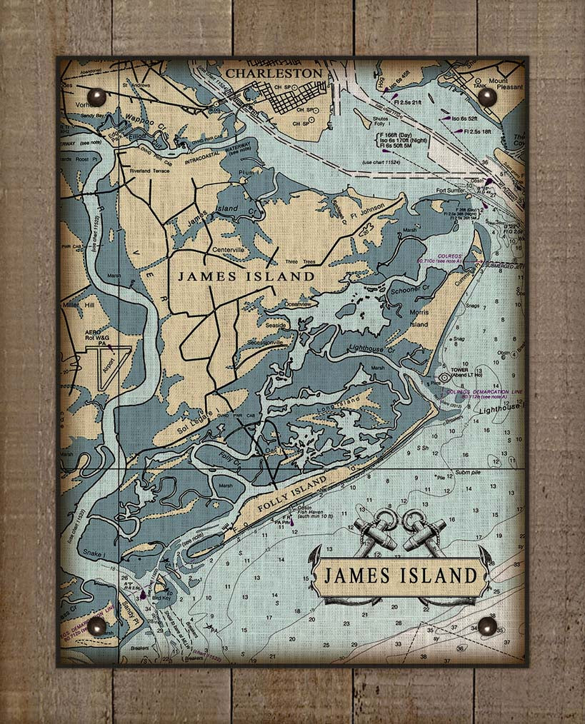 James Island South Carolina Nautical Chart - On 100% Natural Linen