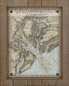 1776 Port Royal Sound Carolina Nautical Chart - On 100% Natural Linen