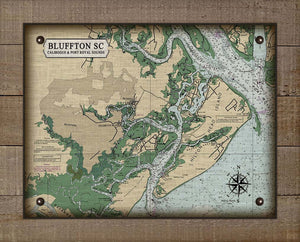 Bluffton South Carolina Nautical Chart - On 100% Natural Linen
