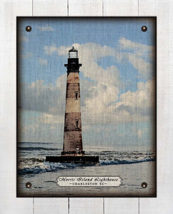Charleston South Carolina Lighthouse - On 100% Linen