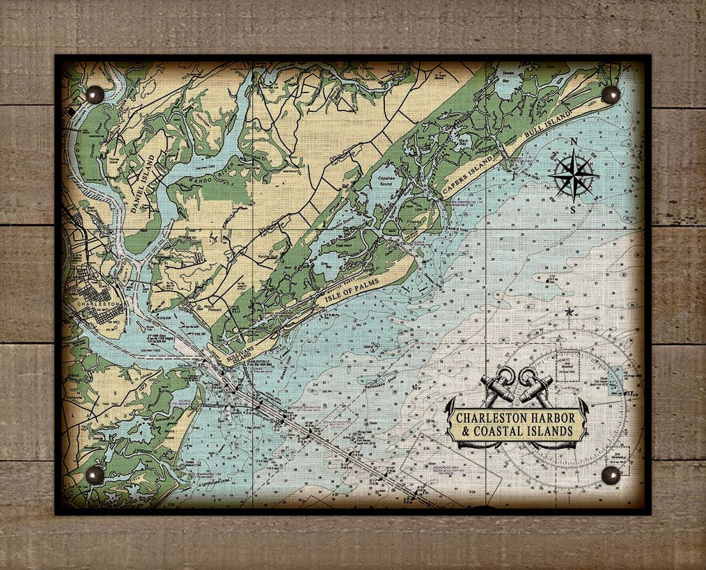 Charleston & Islands (East) Nautical Chart - On 100% Natural Linen