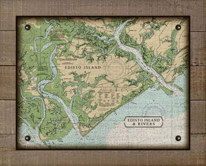 Edisto Island South Carolina Nautical Chart - On 100% Natural Linen