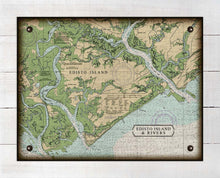 Load image into Gallery viewer, Edisto Island South Carolina Nautical Chart - On 100% Natural Linen