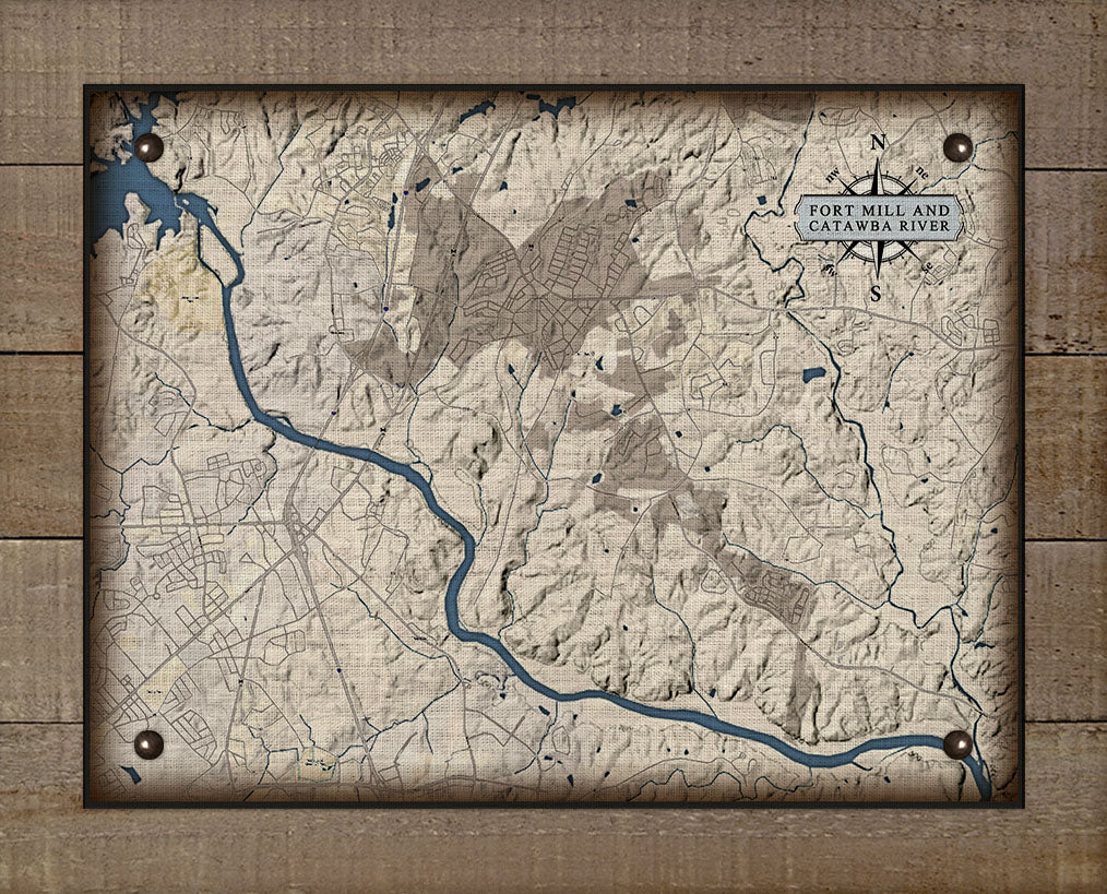 Fort Mill & Catawba River South Carolina Map - On 100% Natural Linen