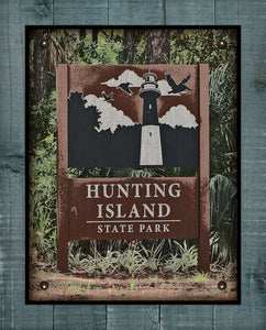 Hunting Island - South Carolina - Welcome Sign  - On 100% Natural Linen
